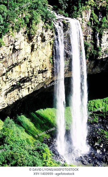 Cascato do Caracol in the Parc Estadual do Caracol, Brazil  Waterfall cascade