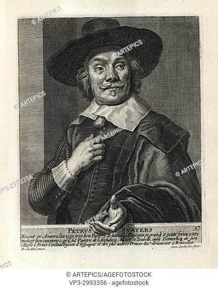 PETRUS SANYERS - Woodcut portrait and short biography (old french language) - Engraving 17th century
