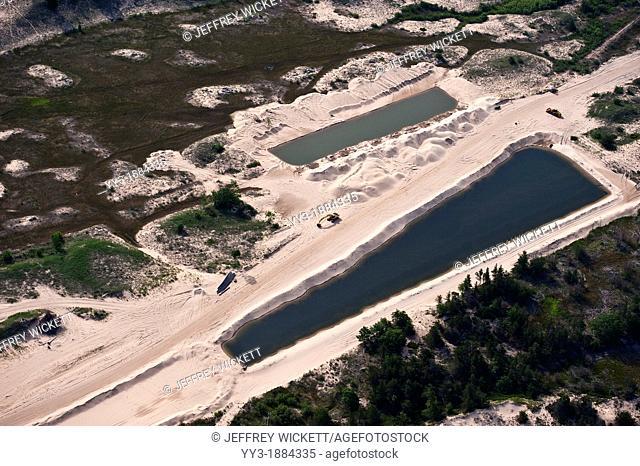 Aerial view of a sand Mine near Ludington State Park and Lake Michigan, Michigan, USA