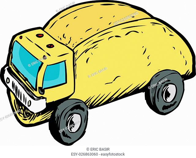 Funny wordplay of empty corn taco shell as dump truck over white background