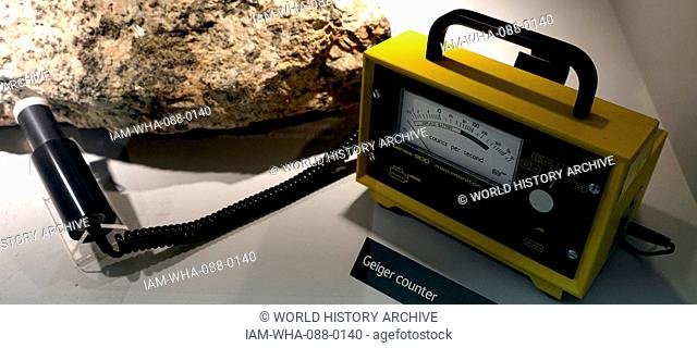 Example of a Geiger counter is an instrument used for measuring ionizing radiation. Dated 21st Century