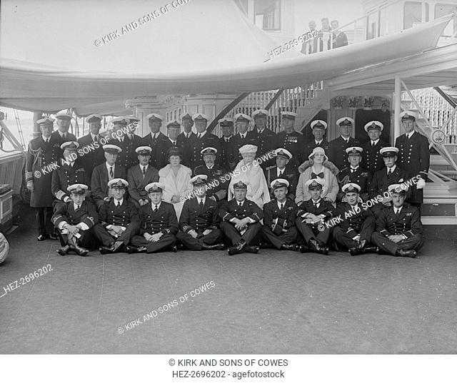 King George V and Queen Mary on board 'HMY Victoria and Albert', 1931. Creator: Kirk & Sons of Cowes