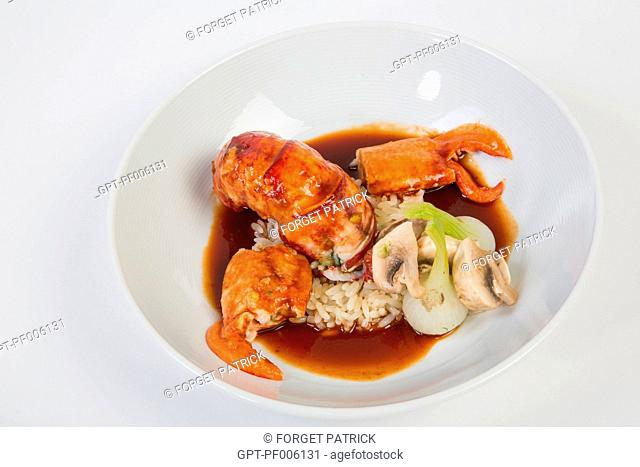 ARMORICAINE STYLE LOBSTER, RECIPE FROM THE MICHELIN-STARRED CHEF LAURENT CLEMENT, COURS GABRIEL, CHARTRES, EURE-ET-LOIR (28), FRANCE