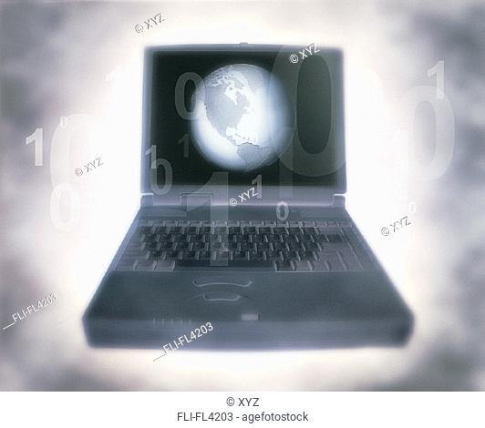 Montage, Laptop, Globe, Binary Numbers