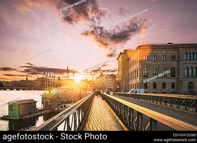 Stockholm, Sweden. Skeppsholmsbron - Skeppsholm Bridge. Famous Popular Place Landmark Destination. Scandinavia Travel