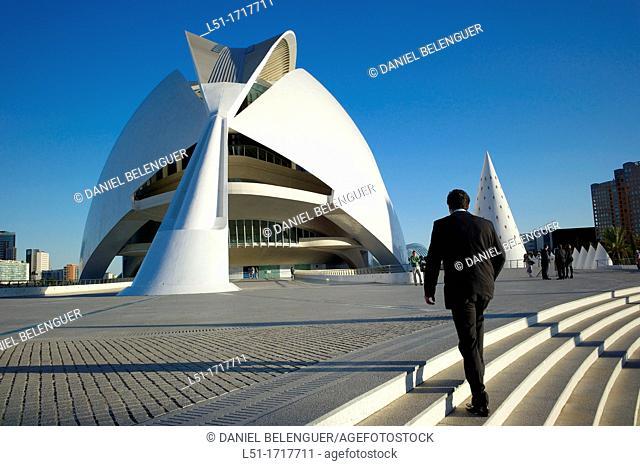 Business man walking, Ciudad e las Artes y las Ciencias, Valencia, Spain