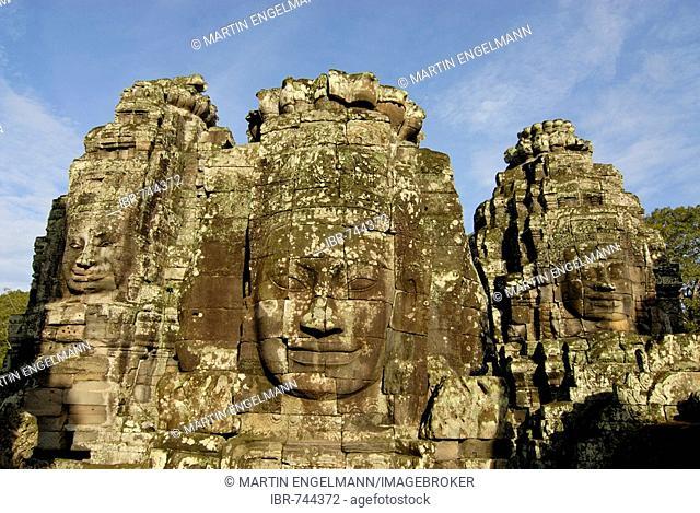Serene stone faces, Bayon Temple, Angkor, Cambodia, Southeast Asia