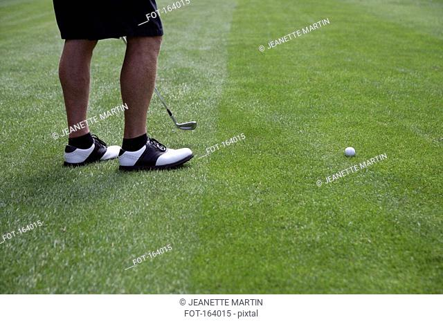 High angle view of a golfer's legs on a fairway