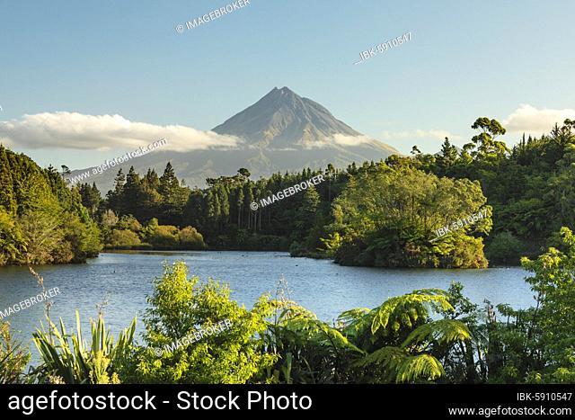 View over Lake Mangamahoe to Mount Taranaki (2518m), Oceania, Egmont National Park, Taranaki, North Island, New Zealand, Oceania