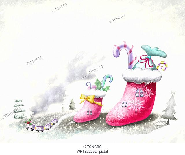 a scene with a Christmas theme
