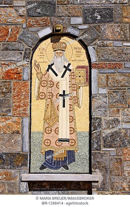 Mosaic on a church, a mountain village of Axos, Crete, Greece, Europe