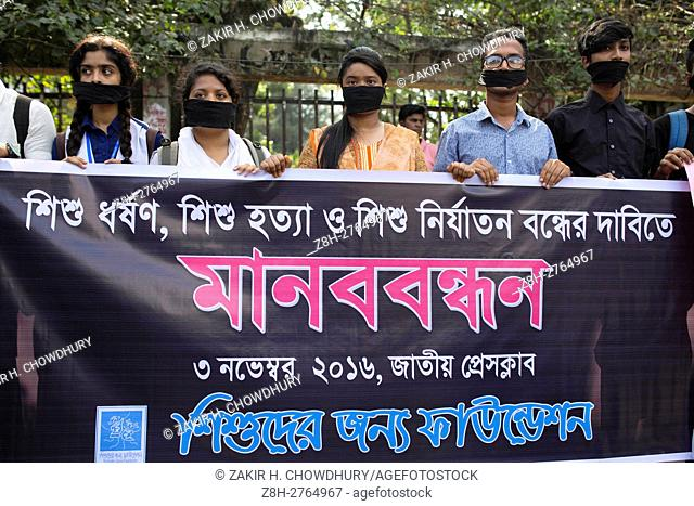 DHAKA, BANGLADESH - NOVEMBER 03 : A group of people made a protest against child rape and women violance in Dhaka, Bangladesh, on November 03, 2016