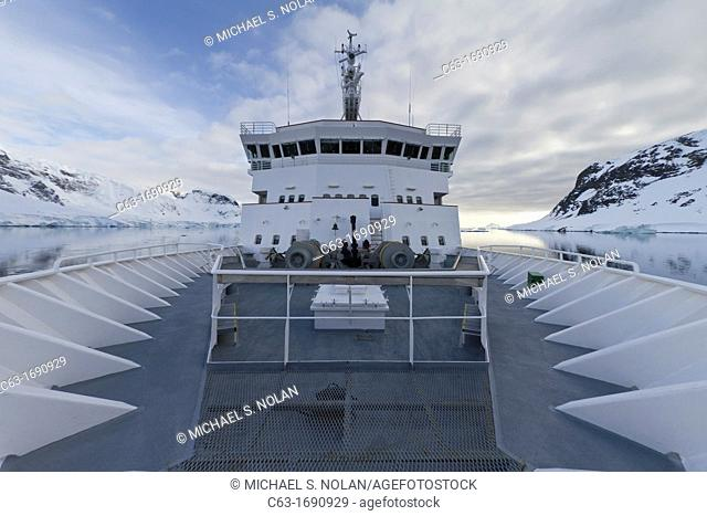 The Lindblad Expedition ship National Geographic Explorer on expedition in Antarctica