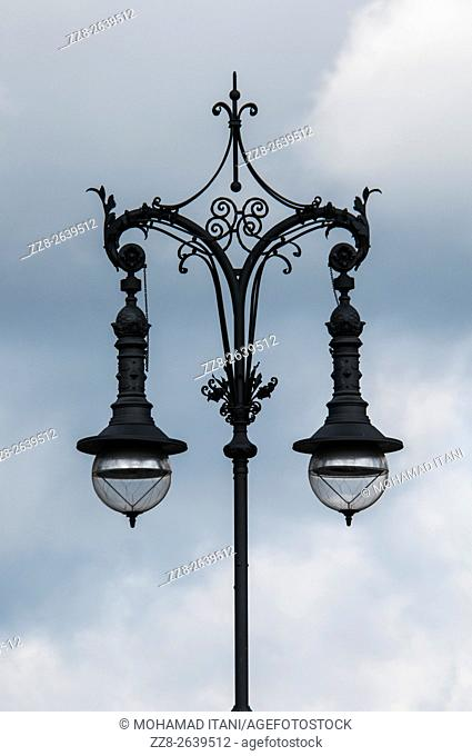 Old lamppost in Berlin city Germany