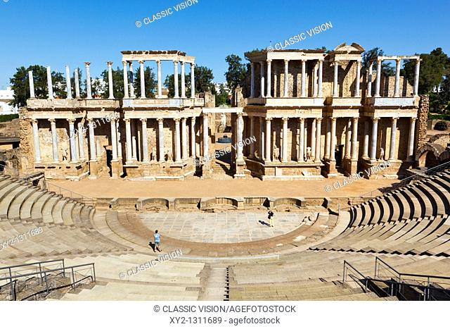The Roman theatre built in the first century BC. Merida, Badajoz Province, Spain