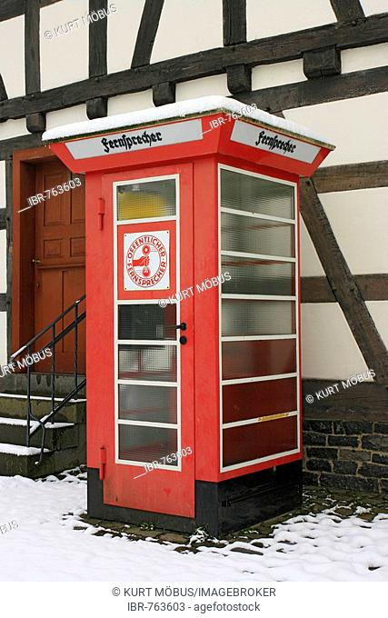 Telephone booth, pay phone, Hessenpark, Neu-Anspach, Hesse, Germany