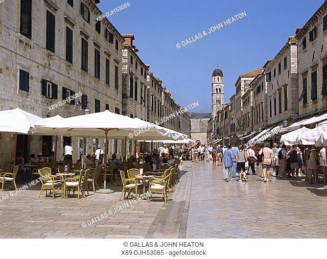 Croatia, Dubrovnik, Old Town, Placa, Plaza Stradun, Franciscan Monastery, Restaurant