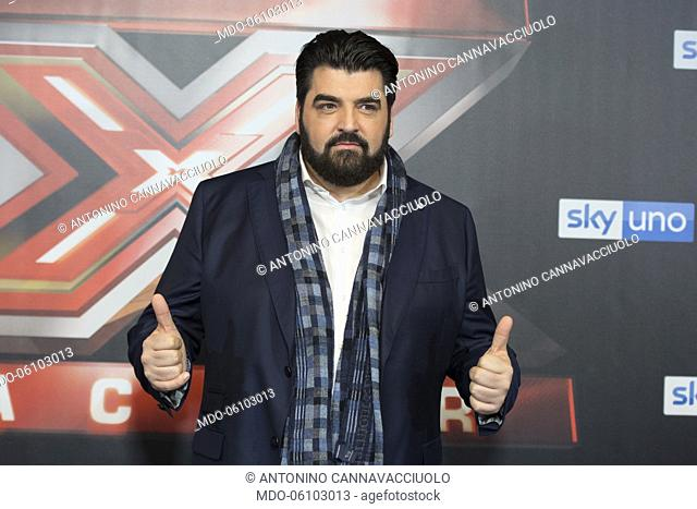 The chef, Antonino Cannavacciuolo at the photocall of the final night of the talent show X-Factor 2018 at the Assago Forum
