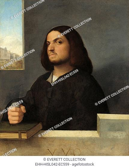 Portrait of a Venetian Gentleman, by Giovanni Cariani, 1485-90, Italian Renaissance painting, oil on canvas. The sitter's facial expression, his closed fist