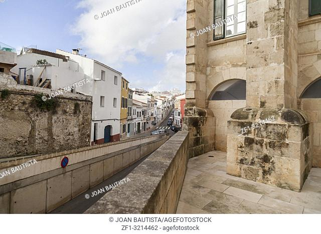 Mahon,Ancient church and convent Sant Francesc, baroque style and street view,Menorca island,Balearic Islands