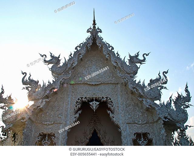 Closeup of gable, wat Rong khun at Chiang Rai, Thailand