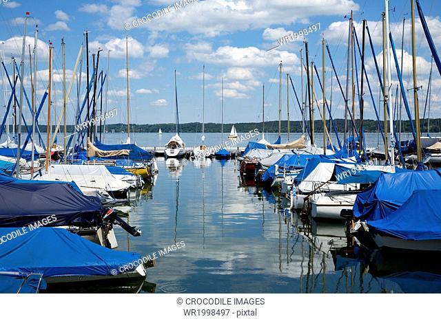 Abounding,Abundance,Bank,Bavaria,Bernried,Bernried At Lake Starnberg,Bliss,Blissful,Boat,Bodies Of Water,Body Of Water,Cloud,Day,Daylight,Daytime,Docking,Europe