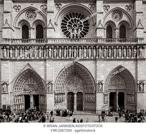 Front facade of Cathedral Notre Dame, Paris France