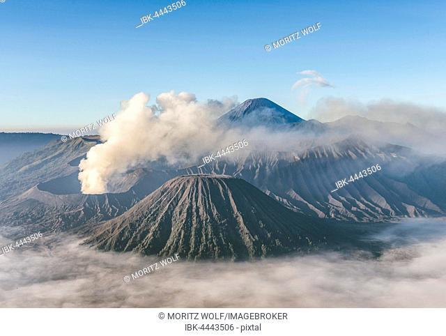 Mount Bromo smoking volcano, Mount Batok, Mount Kursi, Mount Gunung Semeru, Bromo Tengger Semeru National Park, East Java, Indonesia