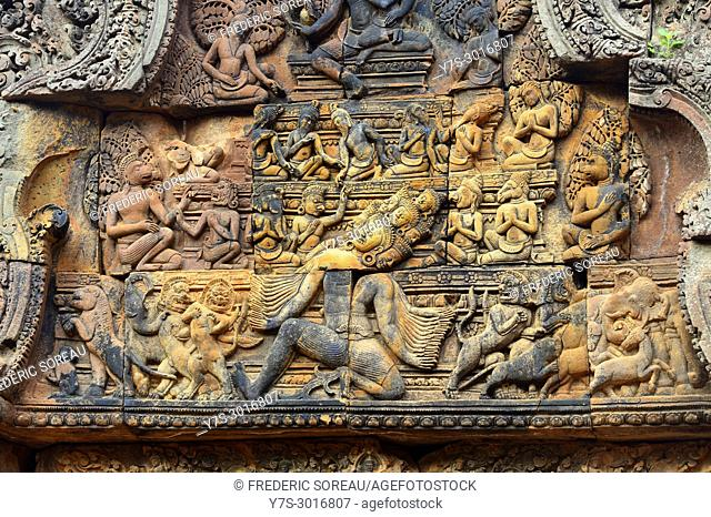 Hindu tempe ruins, Banteay Srei, bas relief, Cambodia, South East Asia, Asia