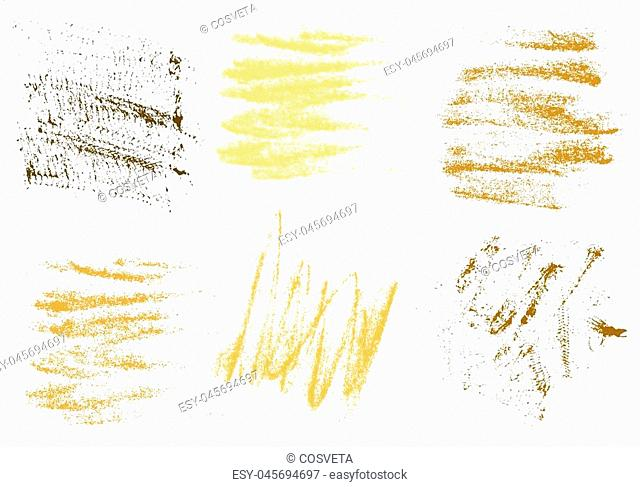 Vector gold charcoal hand drawing abstract on white background set, golden chalk brush stroke design art, pastel gold, golden color grunge texture pattern