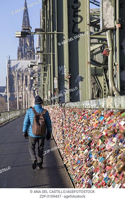 The Hohenzollern bridge is a destination for lovers. Thousands of love locks now decorate the bridge over the Rhine river in Cologne. Germany