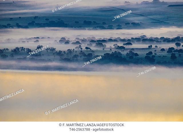 Santillana reservoir, also known as Manzanares el Real reservoir. Community of Madrid. Spain