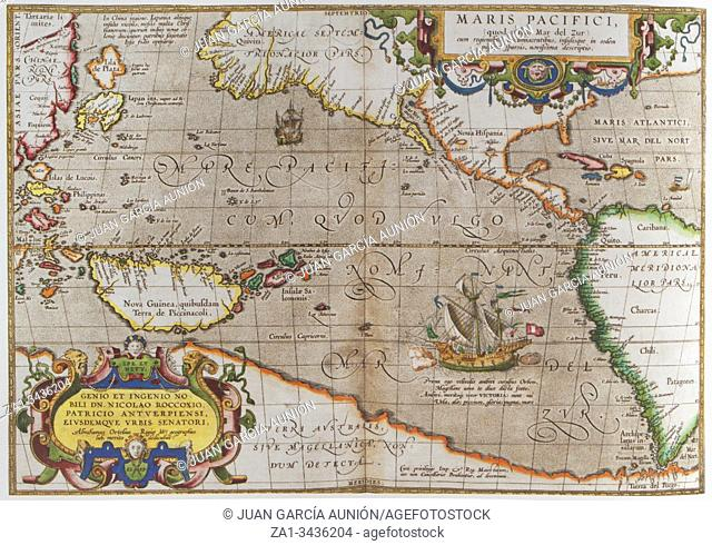 Pacific Ocean Map from Theatrum Orbis Terrarum Written by Abraham Ortelius in 1570