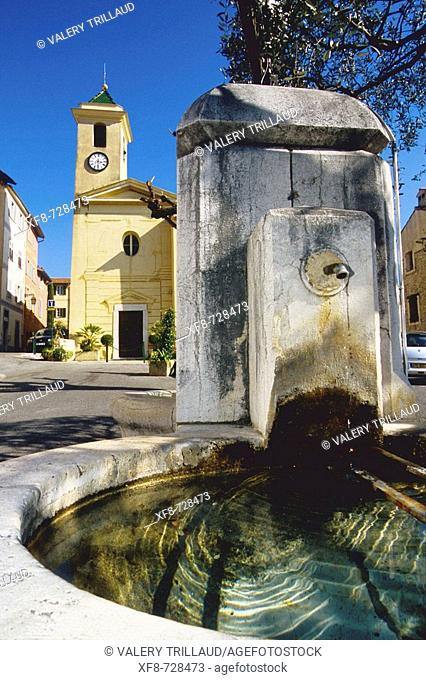 Fountain in the village of Falicon near Nice city. Alpes Maritimes, France