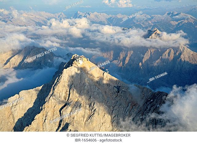 Aerial view of Zugspitze Mountain and neighbouring peaks, the Alps, Bavaria, Germany, Europe