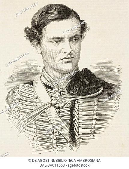 Portrait of Frederick Vyner, murdered in Greece by Greek brigands, April 21, 1870, illustration from the magazine The Illustrated London News, volume LVI