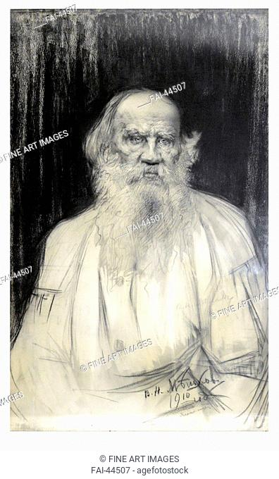 Portrait of the author Count Lev Nikolayevich Tolstoy (1828-1910) by Meshkov, Vasili Nikitich (1868-1946)/Black chalk on paper/Realism/1910/Russia/State Museum...