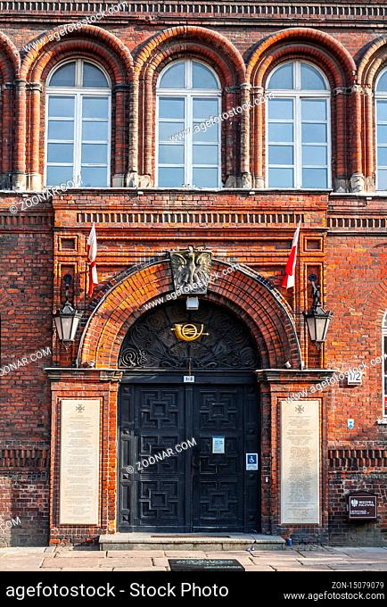 Entrance to brick building of Polish Post Office in Gdansk where post personnel defended the building for some 15 hours against germans on 1st september 1939