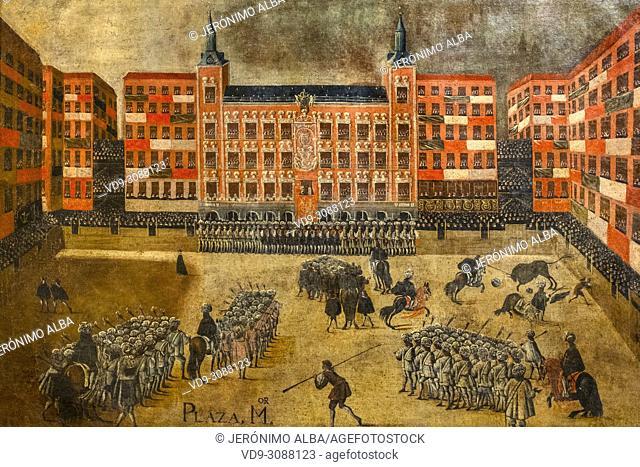 Museo Taurino Real Maestranza de Caballería. Bullfighting Festival in Plaza Mayor of Madrid. Anonymous, Madrid School 1679. Oil on canvas