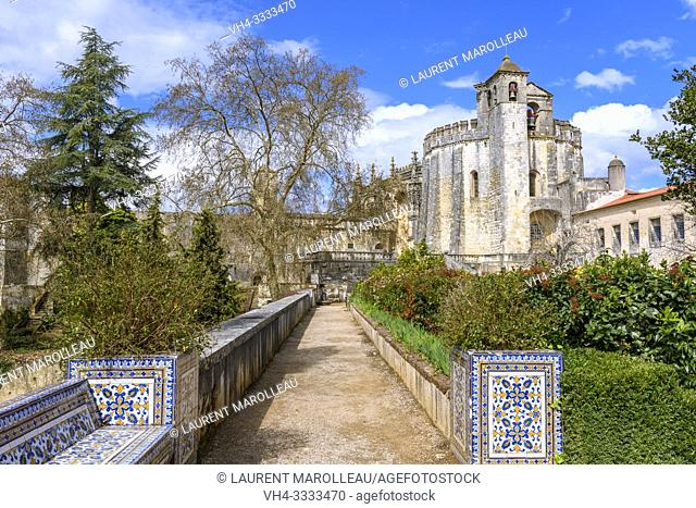 Garden and Round church of the Convent of Christ in Tomar, Santarem District, Centro Region, Portugal, Europe