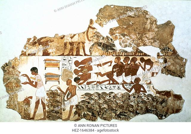 Counting the geese: fragment of wall painting from the tomb of Nebamun (no 2), Thebes, Egypt, 18th Dynasty, c1350 BC. This fragment is divided into two main...