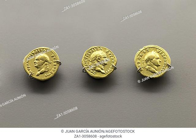 Gold Roman Imperial coins bearing the bust of Emperor Vespasian. National Museum of Roman Art in Merida, Spain