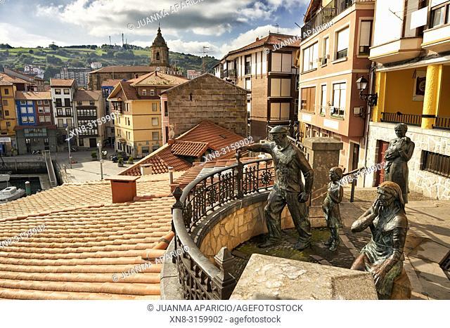 Monumento a los pescadores (Badatoz), Bermeo, Biscay, Basque Country, Euskadi, Euskal Herria, Spain, Europe