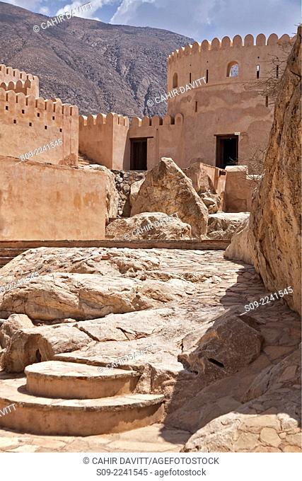 Rocky roor terrace of Nakhl Fort, Nakhl, Al Batinah South Governorate, Oman