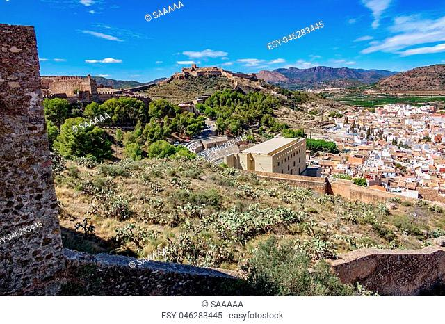 Day view of Sagunto town with the famous castle and restored roman theatre