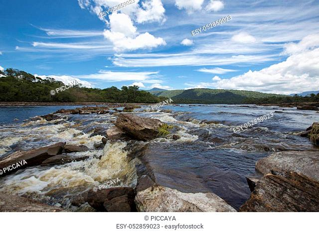 CANAIMA, VENEZUELA, APRIL 10: Rapids and stones in the river of Canaima National Park during the dry season, Venezuela 2015