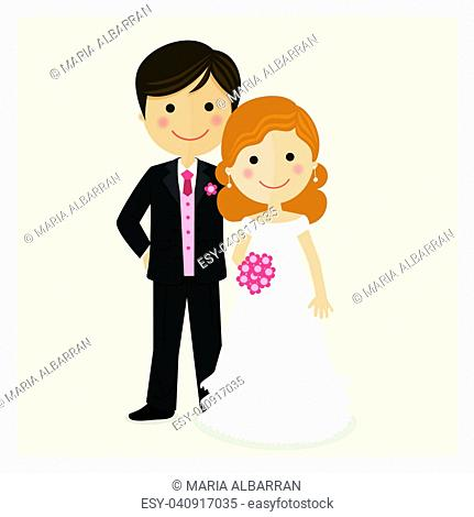 Illustration of happy just married on their wedding day