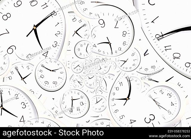 Droste effect background with infinite clock spiral. Abstract design for concepts related to time and deadline