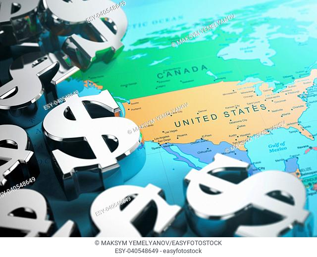 Dollar sign on the world map background with DOF effect. 3d