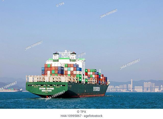 China, Hong Kong, Container Ship